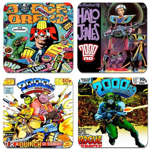 2000AD Comic Classics Coasters Set Of 4. Judge Dredd, Halo Jones, Dr & Quinch, Rogue Trooper